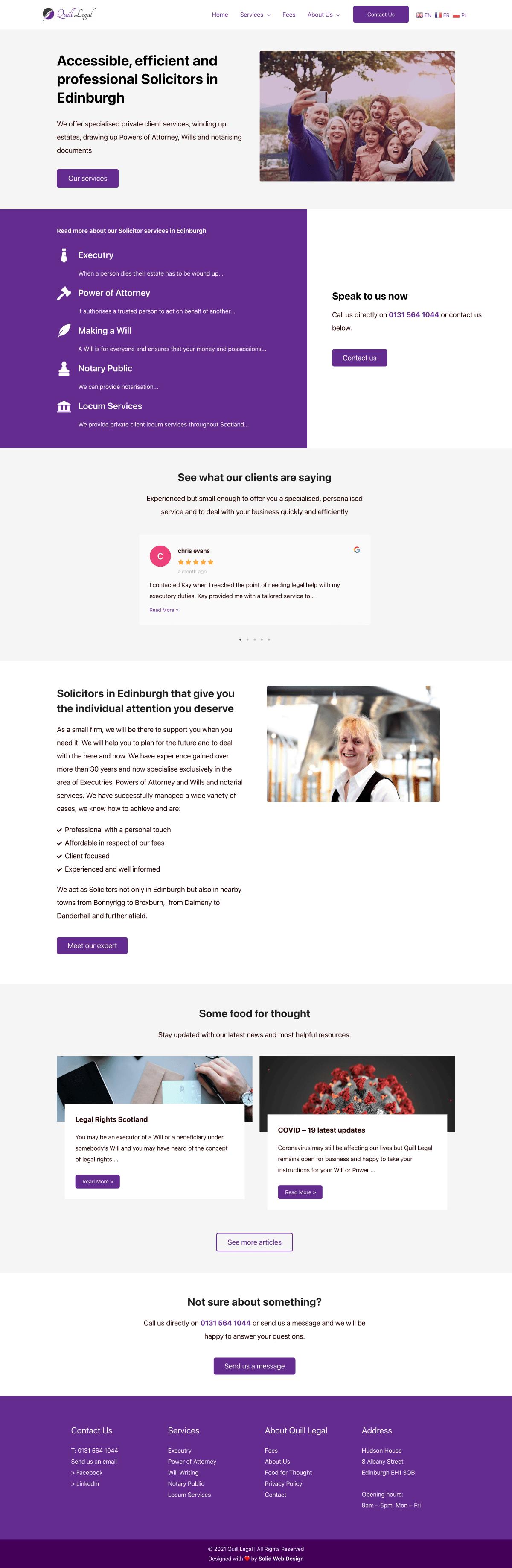 Quill legal solicitors web design edinburgh