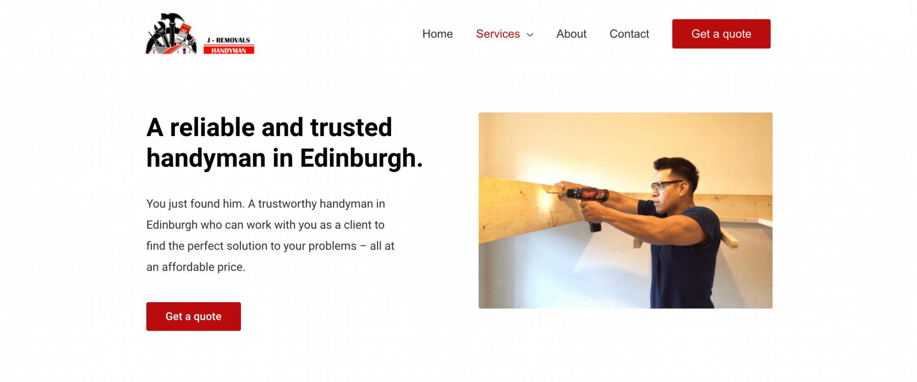 jacob removals and handyman website design edinburgh